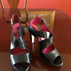 Bandolino Shoes - Black sling back high heeled leather dress sandals